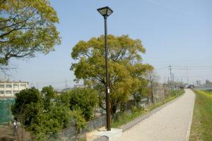大府市石ケ瀬川沿いの緑道 歩道灯